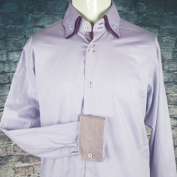 Zara Other - Zara Double Collar Flip Cuff Purple Shirt Slim XL